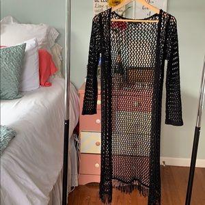 Fishnet long sleeve cardigan